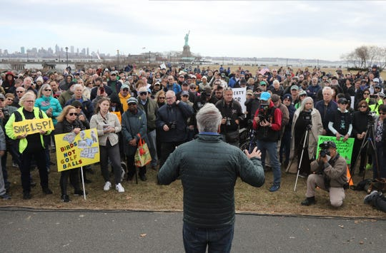 Jeff Tittel, Director of the New Jersey Sierra Club addresses the protesters during the rally at Liberty State Park to Support the Liberty State Park Protection Act and protest any proposed amendment allowing for the privatization of LSPÕs Caven Point Natural Area. There is a proposal to expand the golf course by three holes.