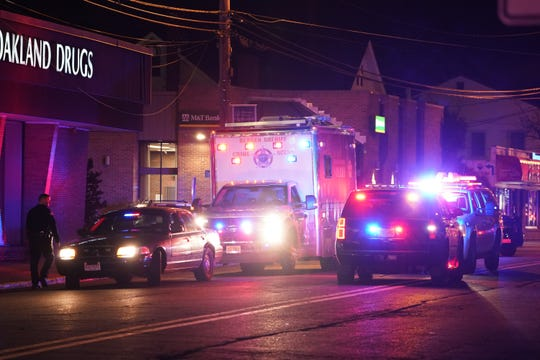 The scene where a pedestrian was struck and seriously injured by a vehicle on Ramapo Valley Road near Oak Street in Oakland, NJ around 6:30 p.m. on Jan. 10, 2020.