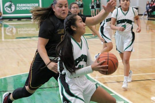 Farmington's Kiiyani Anitielu attacks the basket against Tohatchi during Saturday's girls basketball game at Scorpion Arena in Farmington.