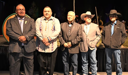 Taking their oaths of office were Mescalero Tribal Council Member Fernando R. Rocha Sr., President Gabe Aguilar, Council Member Alfred LaPaz, Vice President Eddie Martinez and Council Member Frederick Chino Sr. (not shown was Council Member Merilee Garcia).