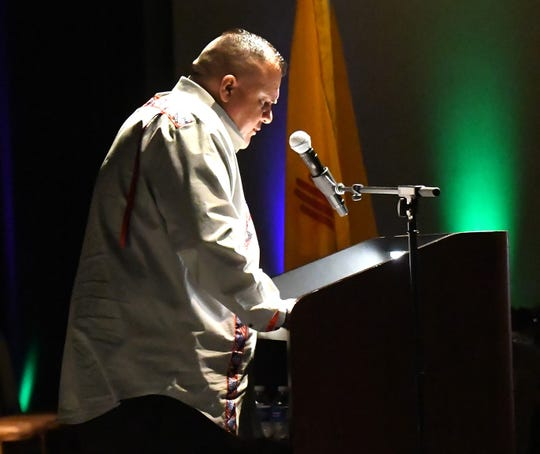 Mescalero Apache President Gabe Aguilar speaks at the inauguration to the people he will lead.