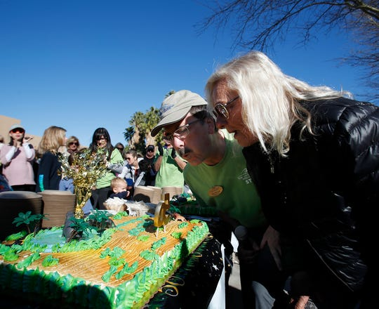 The Living Desert Zoo and Gardens celebrated its 50th anniversary on January 11, 2020. In this photo Allen Monroe, CEO and President of The Living Desert and Lexie Martone, who was present at the opening 50 years ago, blow out a candle.