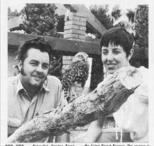 A 1972 photo of Living Desert founding director Karen Sausman with biologist Jack Turner. The zoo had opened a burrowing owl exhibit.