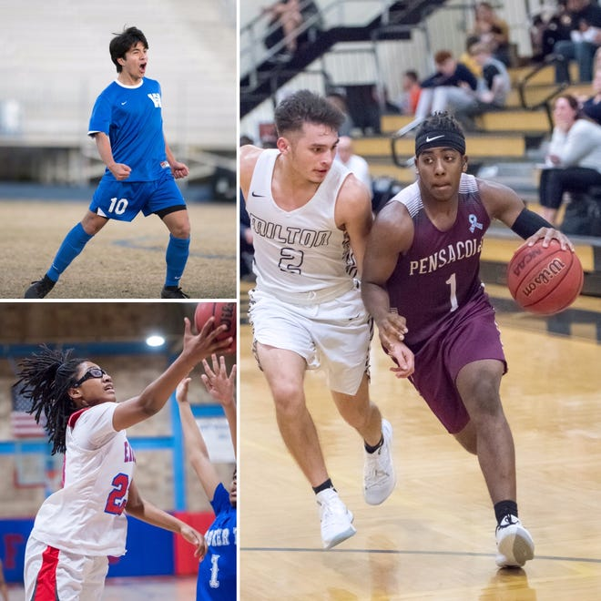 Washington's Cristian Garcia-Vasquez (top left), Pensacola's Emmanuel McDuffie (right) and Pine Forest's Danielle Luckey are among this week's candidates for Athlete of the Week.