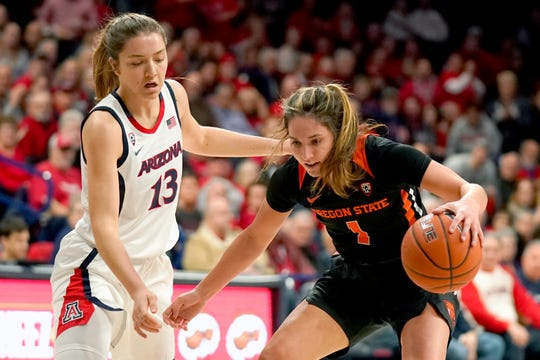 Oregon State guard Aleah Goodman, right, shields the ball from Arizona guard Helena Pueyo (13) during the first half of an NCAA college basketball game Friday, Jan. 10, 2020, in Tucson, Ariz.