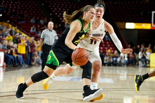Oregon guard Sabrina Ionescu, left, is defended by Arizona State's Robbi Ryan (11) defends during the second half of an NCAA college basketball game Friday, Jan. 10, 2020, in Tempe, Ariz. Arizona State defeated No. 2 Oregon 72-66.