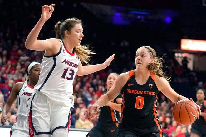 Oregon State guard Mikayla Pivec (0) drives against Arizona guard Helena Pueyo (13) during the first half of an NCAA college basketball game Friday, Jan. 10, 2020, in Tucson, Ariz.