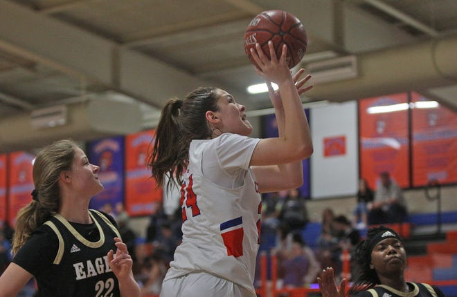 Madison Foley, center, lays the ball in for Central during a game against Abilene on Friday, Jan. 10, 2020.