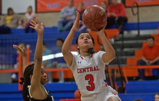 Alyssa Barron, right, lays the ball in for Central during a game against Abilene on Friday, Jan. 10, 2020.