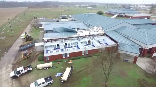 The Bossier Parish Sheriff's Office released drone footage of Benton Middle School. The school was damaged Friday's overnight storms.