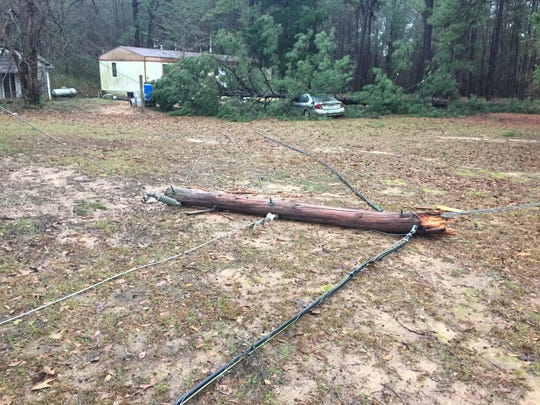 Storm damage in south Bossier on Saturday, Jan. 11, 2020.