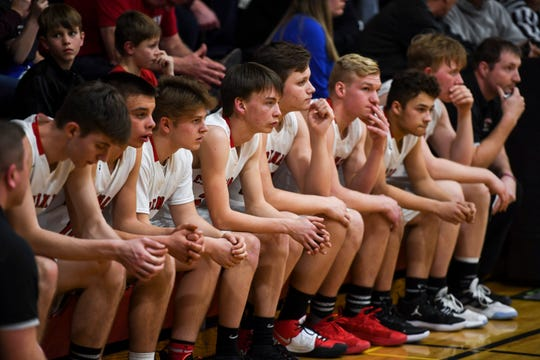 Dell Rapids St. Mary players line the bench during the game against De Smet on Friday, Jan. 10, 2020 at the Dell Rapids St. Mary High School.