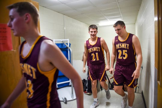 De Smet players return to the court after half-time in the game against Dell Rapids St. Mary on Friday, Jan. 10, 2020 at the Dell Rapids St. Mary High School.