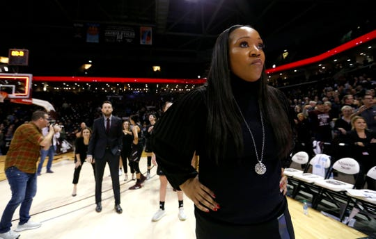 """I think we showed some maturity,"" Lady Bears head coach Amaka Agugua-Hamilton, pictured during Friday's game against Drake, said of Sunday's game."