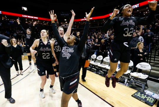 Missouri State Lady Bears celebrate after guard Sydney Manning hit a buzzer beater to give the Bears the win over the Drake Bulldogs at JQH Arena in Springfield, Mo. on Friday, Jan. 10, 2020.
