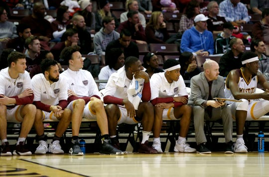 The Missouri State Bears watch from the bench as the UNI Panthers pull away during a game at JQH Arena in Springfield, Mo. on Saturday, Jan. 11, 2020.