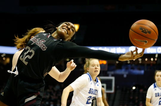 Missouri State forward Jasmine Franklin reaches for an out-of-bounds ball during Friday night's game against the Drake Bulldogs.
