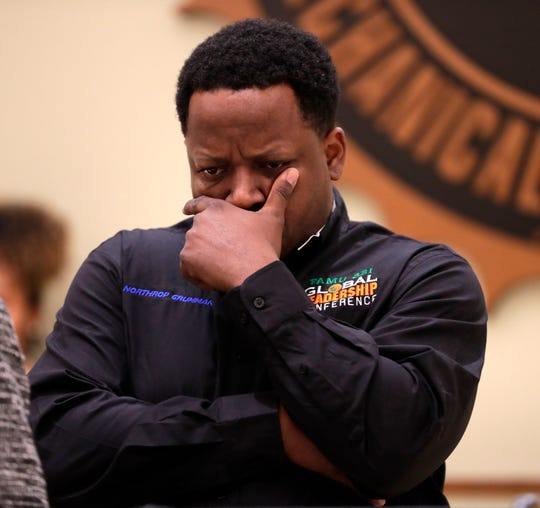 Professor Samuel Pyne from the FAMU school of business and industry fights back tears during a vigil honoring Jamee Johnson a FAMU student. Johnson was killed by a police officer in Jacksonville during a traffic stop in December 2019.