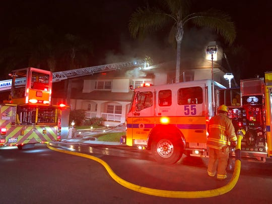 This was the scene of an attic fire in Camarillo on Friday night.