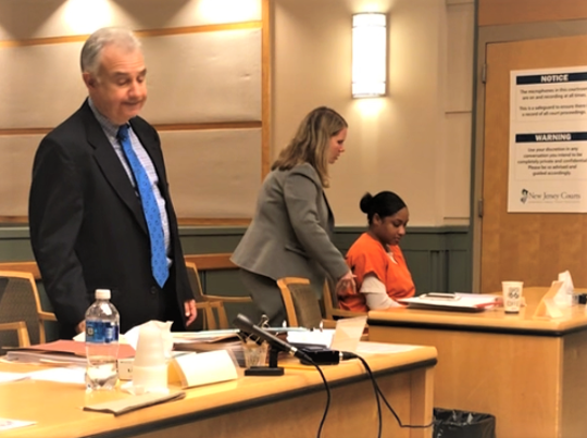 Nakira Griner (seated), charged with killing her young son last February in Bridgeton, was in Cumberland County Superior Court on Friday for a motion to suppress a recorded statement she gave to state police. N.J. Deputy Public Defender Kim Schultz (middle) brought the motion for Griner. County First Assistant Prosecutor Harold B. Shapiro (left) was one of three prosecutors at the hearing.
