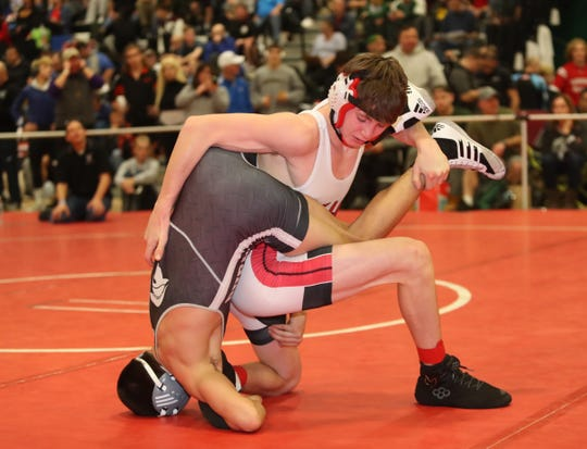 Fox Lane's Jake Hoffmann wrestles a 120-pound match at the Eastern States Classic wrestling tournament at Sullivan County Community College in Fallsburg on Friday, January 10, 2020.