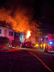 Firefighters battled a blaze early Saturday morning that engulfed a house on Rockland Lane. One male died in the fire, the police said.