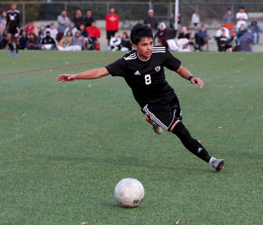 Wichita Falls High's Julio Valdez takes possession in the match against L.D. Bell Friday, Jan. 10, 2020 at Midwestern State University.