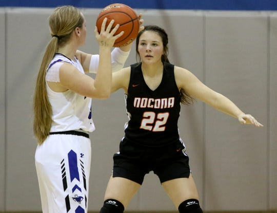 Nocona's Karlee Brown guards City View's Mackenzie Cave Friday, Jan. 10, 2020, in City View.