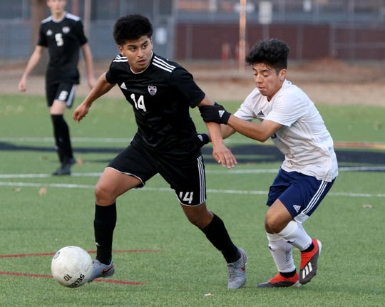 Wichita Falls High's Johan Hernandez (14) dribbles in the match against L.D. Bell Friday, Jan. 10, 2020 at Midwestern State University.