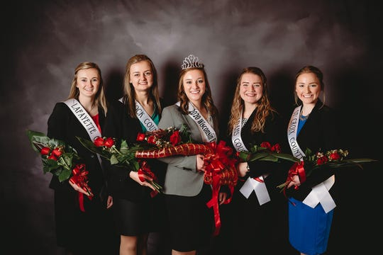 Joining the newly crowned Wisconsin Fairest of the Fairs Cayley Vande Berg, center, of Fond du Lac County, is from left, Emma Buss of Lafayette County, 4th runner up, Lauren Flynn of Rock County, 2nd runner up, Mikaila Falash of Adams County, 1st runner up and Jessica Moor of St. Croix County, 3rd runner up.