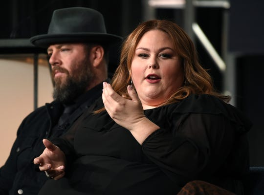 Chrissy Metz, right, explains how being part of NBC's 'This Is Us' has changed her life during a Television Critics Association panel Saturday. Chris Sullivan, who plays her husband, Toby, is at the left.