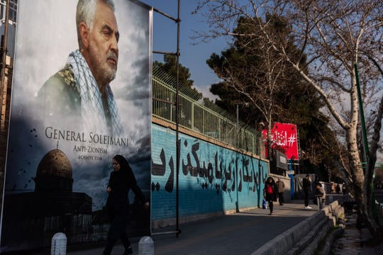 A poster of General Qasem Soleimani hangs on the wall of the former United States Embassy in Tehran, Iran.