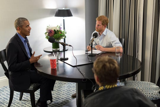 Prince Harry interviews former President Barack Obama in Toronto as part of his guest editorship of BBC Radio 4's Today program broadcast Dec. 27, 2017.