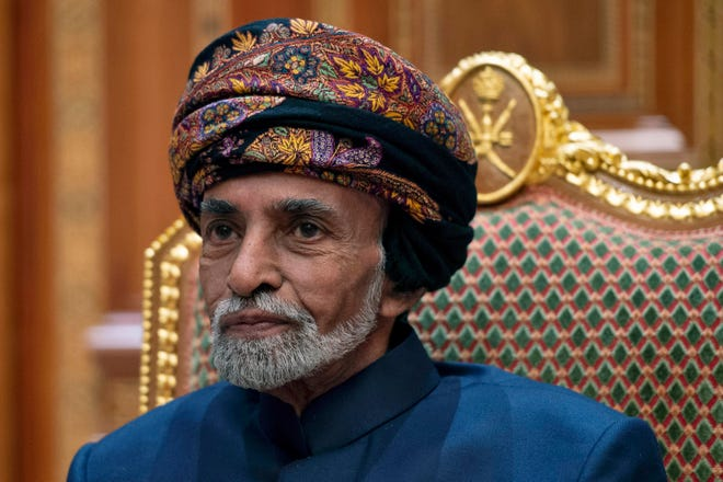 In this Jan. 14, 2019 file photo, Oman Sultan Qaboos bin Said al-Said sits during a meeting with Secretary of State Mike Pompeo at the Beit Al Baraka Royal Palace in Muscat, Oman. Oman's Sultan Qaboos bin Said, the Mideast's longest-ruling monarch who seized power in a 1970 palace coup and pulled his Arabian sultanate into modernity while carefully balancing diplomatic ties between adversaries Iran and the U.S., has died. He was 79.