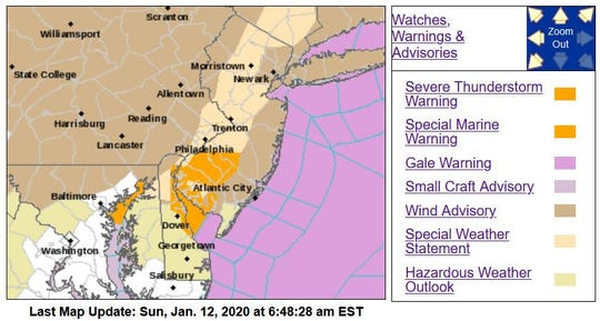 The Garden State was in for some rough weather on Jan. 12, 2019, according to the National Weather Service.