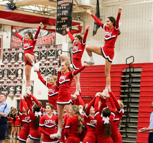 Hunterdon Central cheerleaders perform during the Garden State Open at Bridgewater-Raritan High School on January 12, 2020.  Alexandra Pais/ for APP