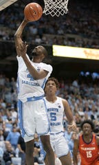 North Carolina's Brandon Robinson (4) drives to the basket in the first an NCAA college basketball game against Clemson on Jan. 11, 2020, at the Smith Center in Chapel Hill.
