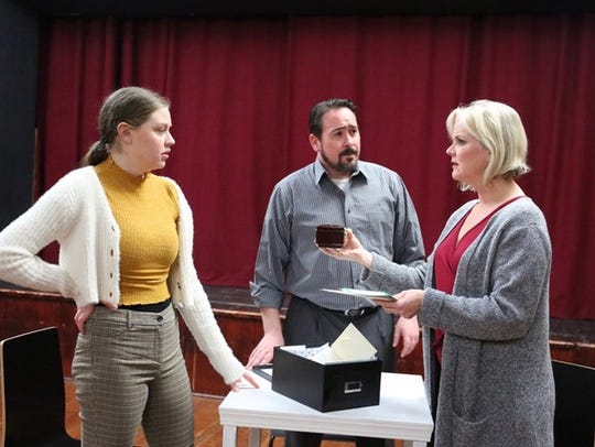 Natalie (Cordelia Janow, left) and Dan (Adam Somers) worry about their mother and wife, Diana (Sarah Taylor).