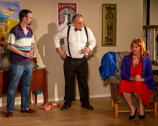 "An I.R.S. agent, Mr. Spinner (Russ Johnson, middle) meets Leslie (Nathan O'Guin), the ""wife"" of Jon (James Evans, left)."
