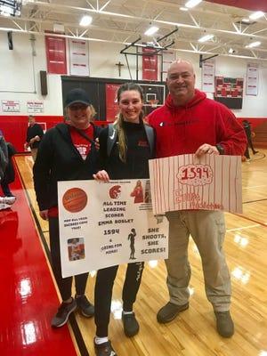 St. Thomas Aquinas' Emma Boslet became the school's all-time leading scorer in basketball on Saturday, Jan. 11, 2020.