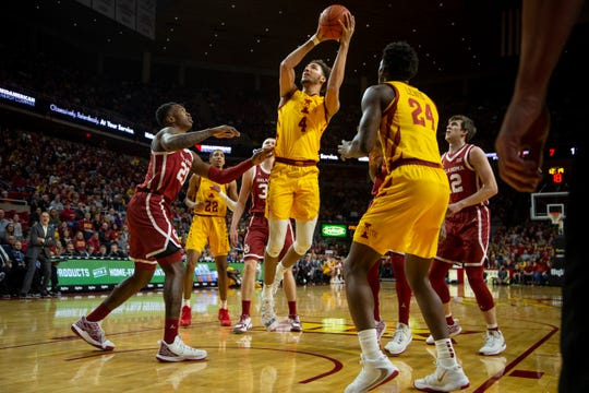 Iowa State Forward George Conditt IV (4) takes a shot during their basketball game at Hilton Coliseum on Saturday, Jan. 11, 2020, in Ames. Iowa State takes a 42-25 lead over Oklahoma into halftime.