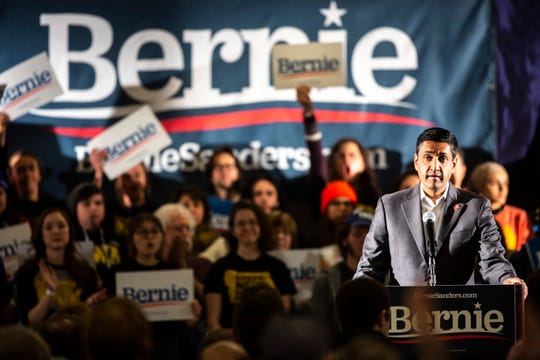 """U.S. Rep. Ro Khanna, D-Calif., speaks during a """"Climate Rally with Sunrise Movement"""" campaign event, Sunday, Jan. 12, 2020, at the Graduate Hotel in Iowa City, Iowa."""