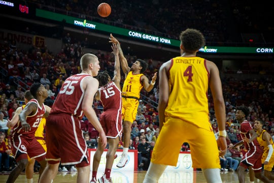 Iowa State Guard Prentiss Nixon (11) shoots during their basketball game at Hilton Coliseum on Saturday, Jan. 11, 2020, in Ames. Iowa State would go on to beat Oklahoma 81-68.