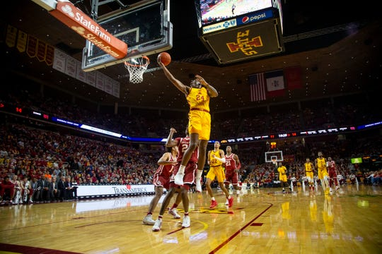 Iowa State Guard Terrence Lewis (24) puts in a lay up during their basketball game at Hilton Coliseum on Saturday, Jan. 11, 2020, in Ames. Iowa State takes a 42-25 lead over Oklahoma into halftime.