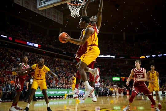 Iowa State Guard Terrence Lewis (24) tries to get a shot off during their basketball game at Hilton Coliseum on Saturday, Jan. 11, 2020, in Ames. Iowa State takes a 42-25 lead over Oklahoma into halftime.