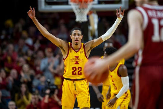 Iowa State Guard Tyrese Haliburton (22) celebrates during their basketball game at Hilton Coliseum on Saturday, Jan. 11, 2020, in Ames. Iowa State takes a 42-25 lead over Oklahoma into halftime.
