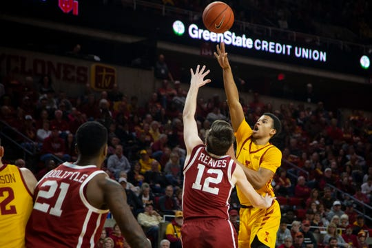 Iowa State  Rasir Bolton (45) shoots during their basketball game at Hilton Coliseum on Saturday, Jan. 11, 2020, in Ames. Iowa State would go on to beat Oklahoma 81-68.