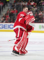 Jimmy Howard skates during a break in action against Buffalo.