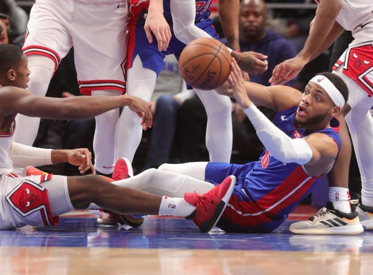 Detroit Pistons guard Bruce Brown gets the loose ball against the Chicago Bulls during the third quarter at Little Caesars Arena in Detroit, Saturday, Jan. 11, 2020.