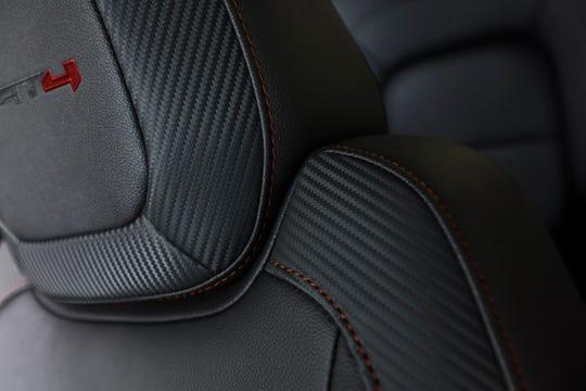 AT4 stitching and upholstery on seats of 2021 GMC Canyon midsize pickup.